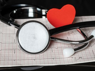 Photo of stethoscope and heart